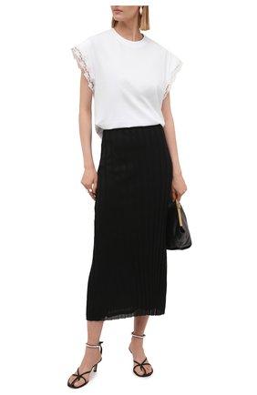 Женская хлопковая футболка CHLOÉ белого цвета, арт. CHC21AJH37182   Фото 2
