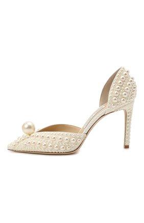 Женские текстильные туфли sabine 85 JIMMY CHOO кремвого цвета, арт. SABINE 85/W0Z   Фото 4 (Материал внешний: Текстиль; Каблук высота: Высокий; Материал внутренний: Натуральная кожа; Каблук тип: Шпилька; Подошва: Плоская)