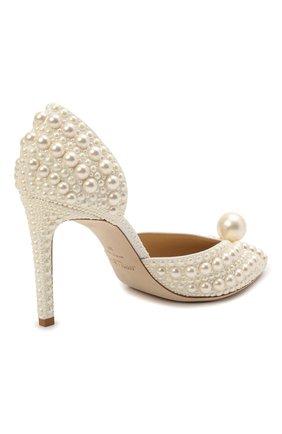 Женские текстильные туфли sabine 85 JIMMY CHOO кремвого цвета, арт. SABINE 85/W0Z   Фото 5 (Материал внешний: Текстиль; Каблук высота: Высокий; Материал внутренний: Натуральная кожа; Каблук тип: Шпилька; Подошва: Плоская)