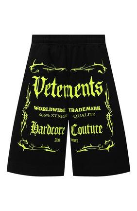 Женские хлопковые шорты VETEMENTS черного цвета, арт. UA52TR400X 1610/W | Фото 1