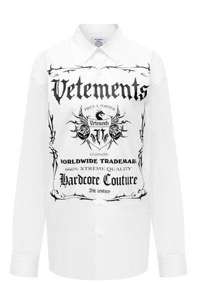 Женская хлопковая рубашка VETEMENTS белого цвета, арт. UA52SH500W 1005/W   Фото 1