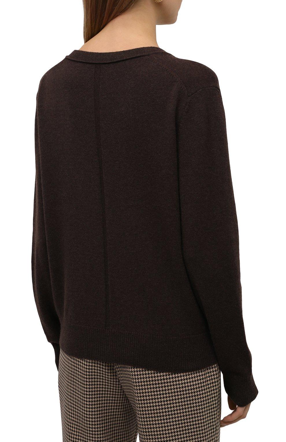Женский кашемировый кардиган THE ROW темно-коричневого цвета, арт. 5683F377 | Фото 4 (Материал внешний: Шерсть, Кашемир; Рукава: Длинные; Длина (для топов): Стандартные; Женское Кросс-КТ: кардиган-трикотаж; Стили: Минимализм)