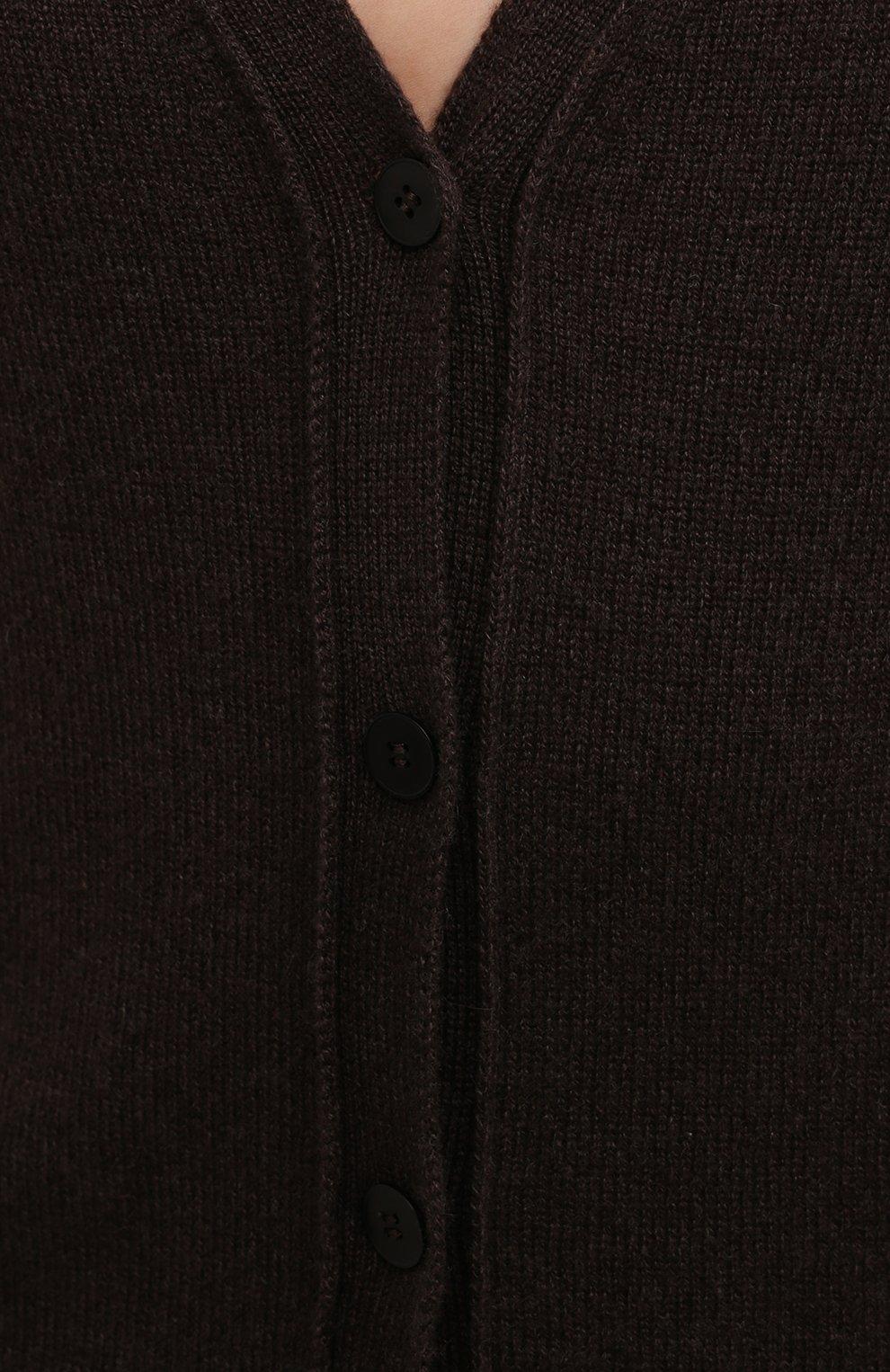 Женский кашемировый кардиган THE ROW темно-коричневого цвета, арт. 5683F377 | Фото 5 (Материал внешний: Шерсть, Кашемир; Рукава: Длинные; Длина (для топов): Стандартные; Женское Кросс-КТ: кардиган-трикотаж; Стили: Минимализм)