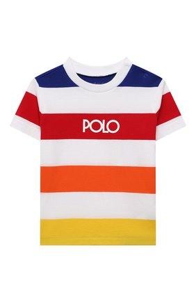 Детский хлопковая футболка POLO RALPH LAUREN разноцветного цвета, арт. 320844644 | Фото 1 (Рукава: Короткие; Материал внешний: Хлопок; Ростовка одежда: 9 мес | 74 см, 12 мес | 80 см, 18 мес | 86 см)