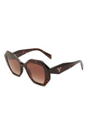 Женские солнцезащитные очки PRADA коричневого цвета, арт. 16WS-2AU6S1   Фото 1 (Тип очков: С/з; Очки форма: Бабочка; Оптика Гендер: оптика-женское)