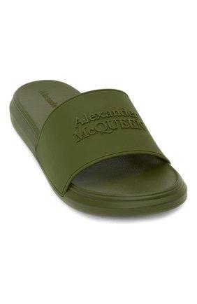 Мужские шлепанцы ALEXANDER MCQUEEN хаки цвета, арт. 663564/W4QS0 | Фото 1