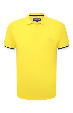 Мужское хлопковое поло VILEBREQUIN желтого цвета, арт. PLTU1N00/105 | Фото 1