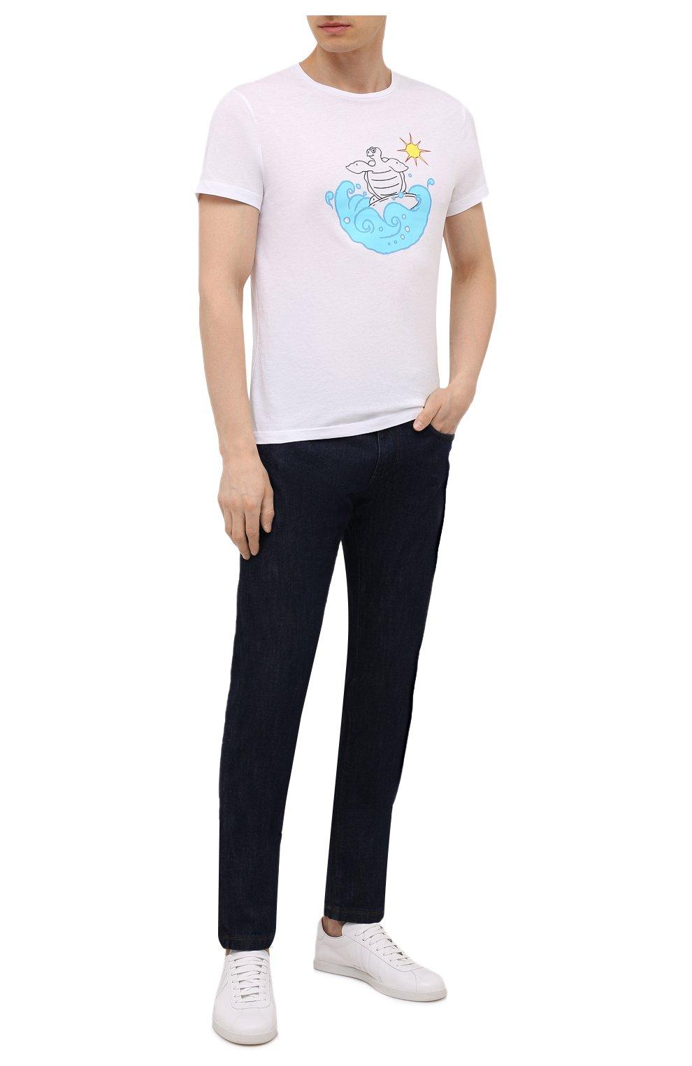 Мужская хлопковая футболка  VILEBREQUIN белого цвета, арт. TAOU1P29/010 | Фото 2 (Рукава: Короткие; Длина (для топов): Стандартные; Материал внешний: Хлопок; Стили: Кэжуэл)