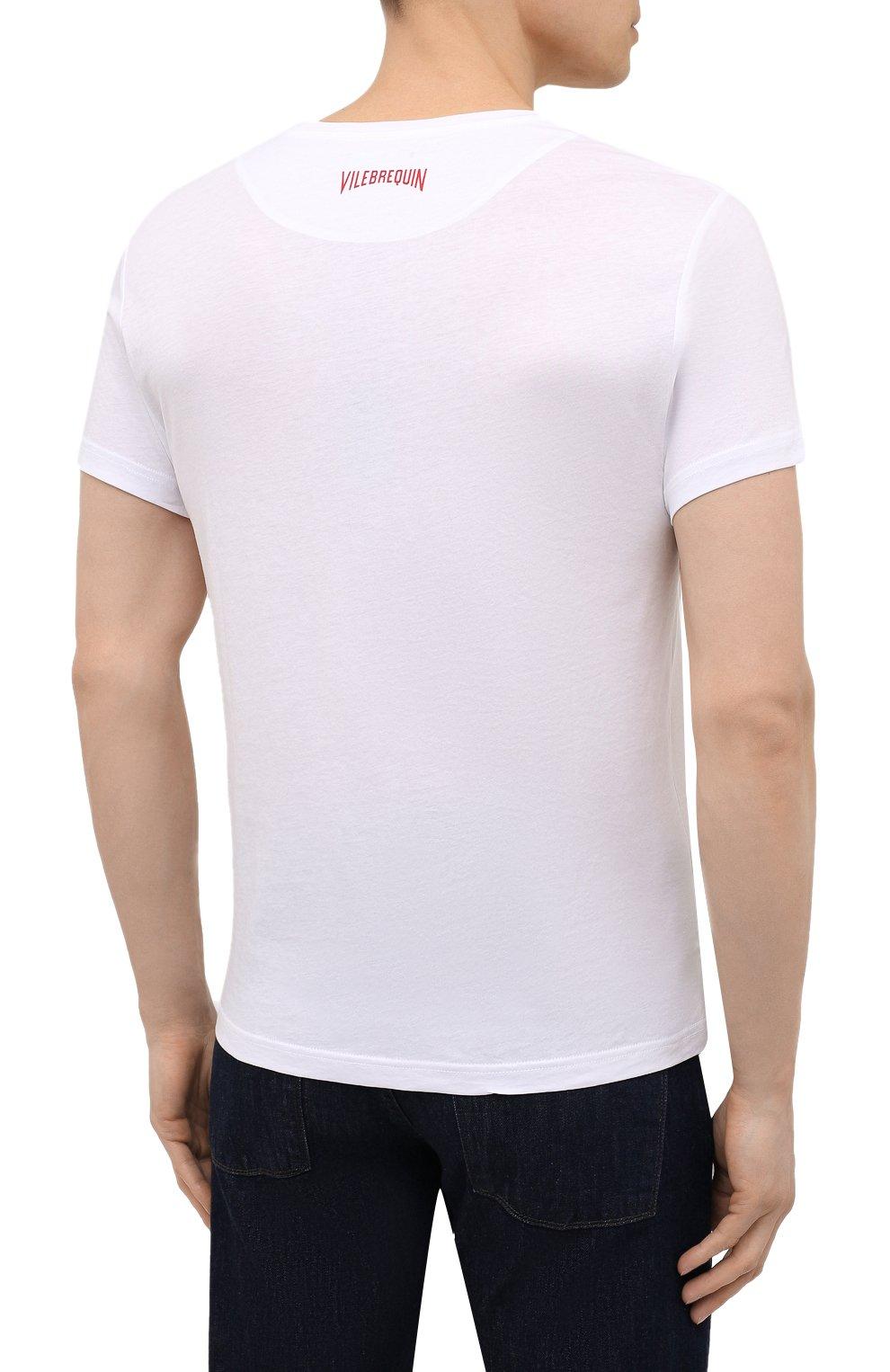 Мужская хлопковая футболка  VILEBREQUIN белого цвета, арт. TAOU1P29/010 | Фото 4 (Рукава: Короткие; Длина (для топов): Стандартные; Материал внешний: Хлопок; Стили: Кэжуэл)