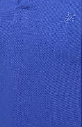 Мужское хлопковое поло VILEBREQUIN синего цвета, арт. PLTU1N00/314   Фото 5 (Принт: Без принта; Рукава: Короткие; Застежка: Открытый ворот; Длина (для топов): Стандартные; Материал внешний: Хлопок)