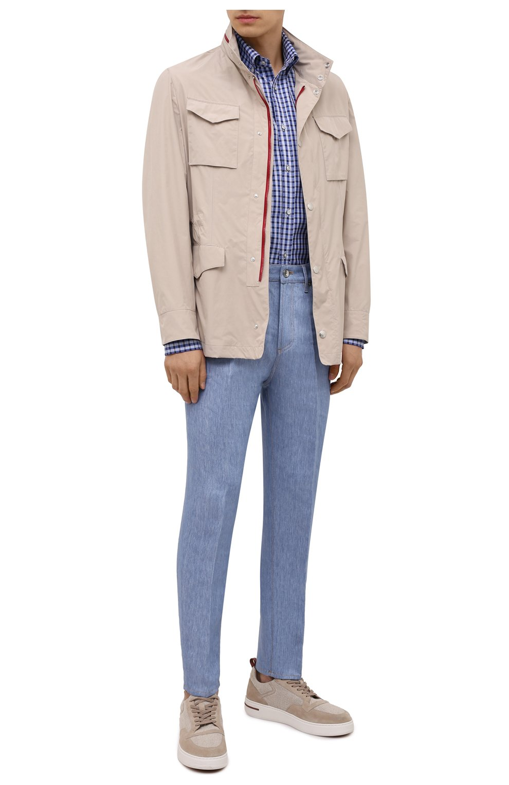 Мужская хлопковая рубашка PAUL&SHARK синего цвета, арт. 11313160/C00 | Фото 2
