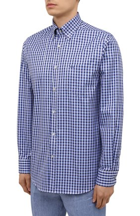 Мужская хлопковая рубашка PAUL&SHARK синего цвета, арт. 11313160/C00 | Фото 3
