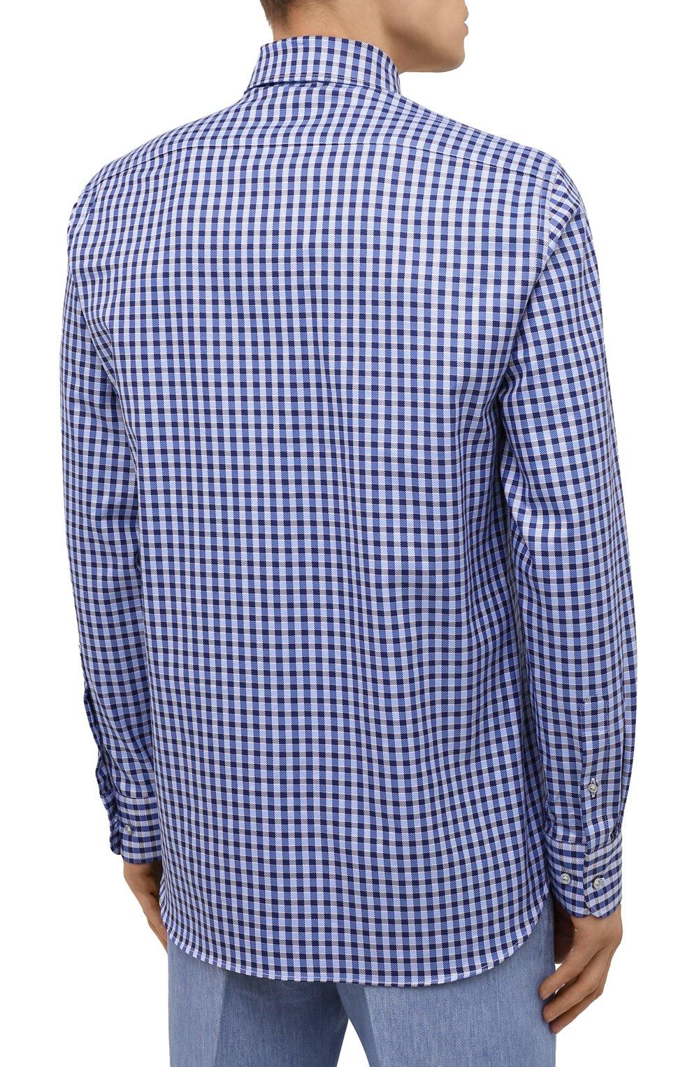 Мужская хлопковая рубашка PAUL&SHARK синего цвета, арт. 11313160/C00 | Фото 4