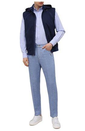 Мужская хлопковая рубашка PAUL&SHARK голубого цвета, арт. C0P3053/C00 | Фото 2