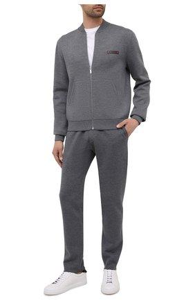 Мужские шерстяные брюки BERLUTI серого цвета, арт. R20KTU01-002   Фото 2 (Длина (брюки, джинсы): Стандартные; Материал внешний: Шерсть; Случай: Повседневный; Стили: Кэжуэл)