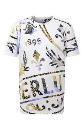 Мужская хлопковая футболка  BERLUTI белого цвета, арт. R20JRS61-001   Фото 1 (Рукава: Короткие; Материал внешний: Хлопок; Длина (для топов): Удлиненные; Принт: С принтом; Стили: Кэжуэл)