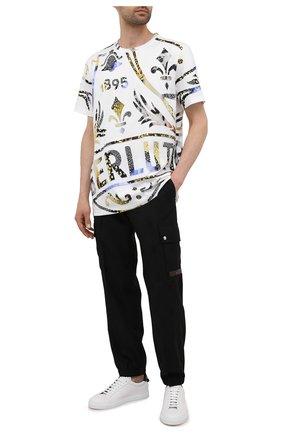 Мужская хлопковая футболка  BERLUTI белого цвета, арт. R20JRS61-001   Фото 2 (Рукава: Короткие; Материал внешний: Хлопок; Длина (для топов): Удлиненные; Принт: С принтом; Стили: Кэжуэл)