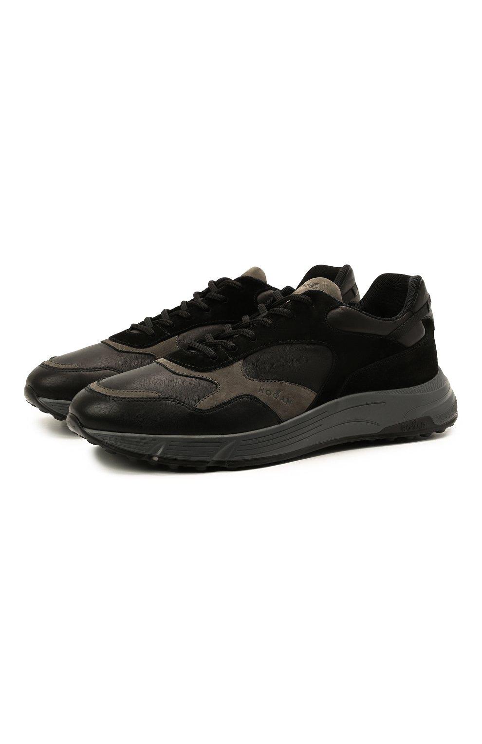 Мужские комбинированные кроссовки HOGAN черного цвета, арт. HXM5630DM90QDC   Фото 1 (Материал внутренний: Текстиль; Подошва: Массивная; Стили: Спорт)