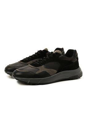 Мужские комбинированные кроссовки HOGAN черного цвета, арт. HXM5630DM90QDC | Фото 1