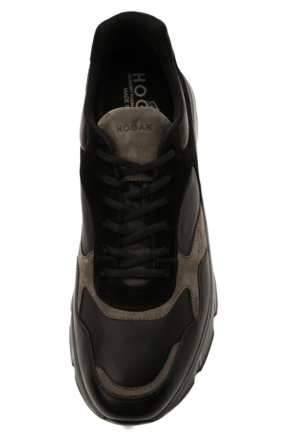 Мужские комбинированные кроссовки HOGAN черного цвета, арт. HXM5630DM90QDC   Фото 5 (Материал внутренний: Текстиль; Подошва: Массивная; Стили: Спорт)