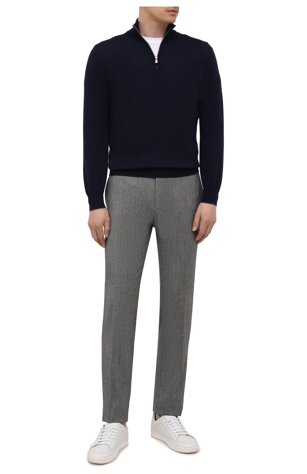 Мужские брюки из шерсти и кашемира KITON серого цвета, арт. UFPP79K0121A   Фото 2