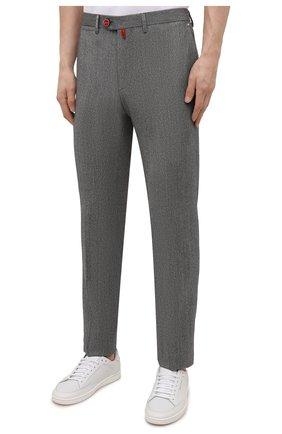 Мужские брюки из шерсти и кашемира KITON серого цвета, арт. UFPP79K0121A   Фото 3