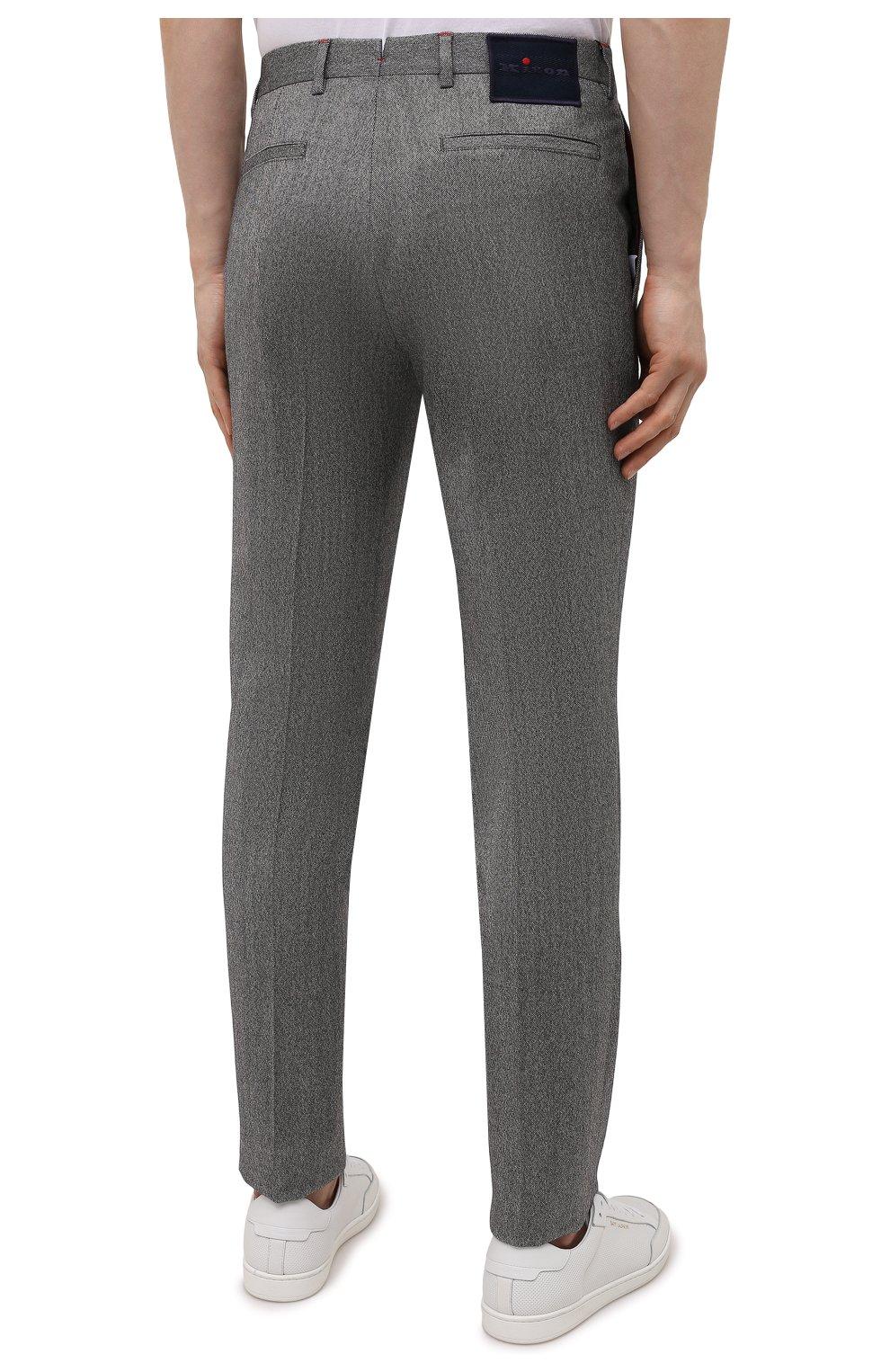 Мужские брюки из шерсти и кашемира KITON серого цвета, арт. UFPP79K0121A   Фото 4
