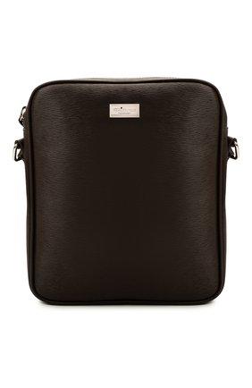 Мужская кожаная сумка KITON коричневого цвета, арт. UBMESSN00815 | Фото 1 (Материал: Натуральная кожа; Ремень/цепочка: На ремешке)