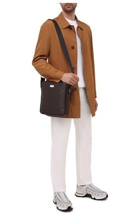 Мужская кожаная сумка KITON коричневого цвета, арт. UBMESSN00815 | Фото 2 (Материал: Натуральная кожа; Ремень/цепочка: На ремешке)