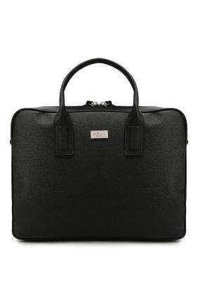 Мужская кожаная сумка для ноутбука KITON черного цвета, арт. UBLAPSN00815   Фото 1