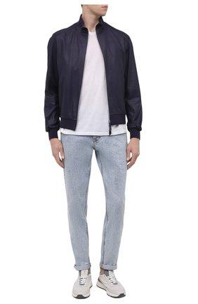 Мужские джинсы BRUNELLO CUCINELLI голубого цвета, арт. MA095D2210 | Фото 2 (Материал внешний: Хлопок; Длина (брюки, джинсы): Стандартные; Силуэт М (брюки): Узкие; Стили: Кэжуэл; Кросс-КТ: Деним)