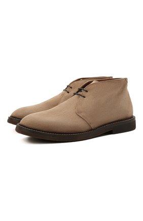 Мужские замшевые ботинки BRUNELLO CUCINELLI светло-коричневого цвета, арт. MZUNETE817 | Фото 1 (Материал внутренний: Натуральная кожа; Подошва: Плоская; Мужское Кросс-КТ: Ботинки-обувь, Дезерты-обувь; Материал внешний: Замша)