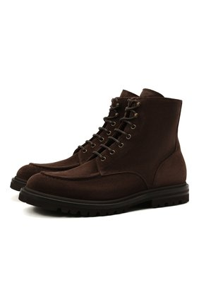 Мужские замшевые ботинки BRUNELLO CUCINELLI темно-коричневого цвета, арт. MZUNETG816   Фото 1 (Подошва: Плоская; Материал внутренний: Натуральная кожа; Мужское Кросс-КТ: Ботинки-обувь; Материал внешний: Замша)