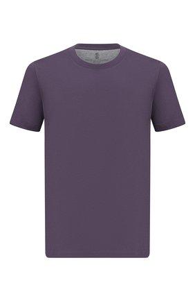 Мужская хлопковая футболка  BRUNELLO CUCINELLI фиолетового цвета, арт. M0T611308 | Фото 1 (Материал внешний: Хлопок; Принт: Без принта; Длина (для топов): Стандартные; Рукава: Короткие; Стили: Кэжуэл)