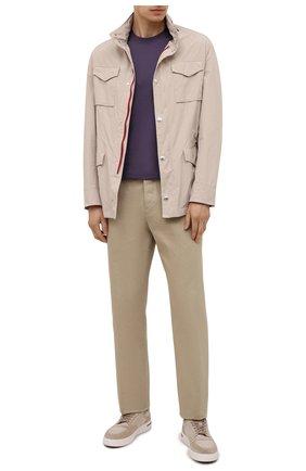 Мужская хлопковая футболка  BRUNELLO CUCINELLI фиолетового цвета, арт. M0T611308 | Фото 2 (Материал внешний: Хлопок; Принт: Без принта; Длина (для топов): Стандартные; Рукава: Короткие; Стили: Кэжуэл)