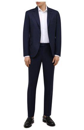 Мужской шерстяной костюм BRUNELLO CUCINELLI синего цвета, арт. ME2267BT7 | Фото 1 (Материал внешний: Шерсть; Материал подклада: Купро; Стили: Классический; Костюмы М: Однобортный; Рукава: Длинные)
