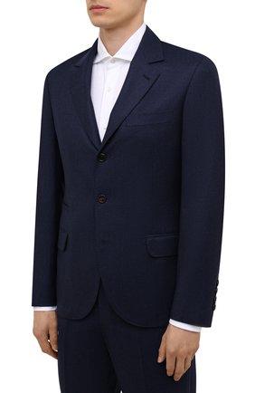 Мужской шерстяной костюм BRUNELLO CUCINELLI синего цвета, арт. ME2267BT7 | Фото 2 (Материал внешний: Шерсть; Материал подклада: Купро; Стили: Классический; Костюмы М: Однобортный; Рукава: Длинные)