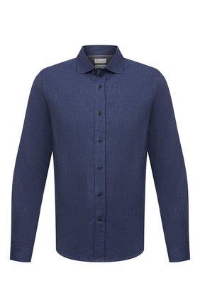 Мужская хлопковая рубашка BRUNELLO CUCINELLI темно-синего цвета, арт. ML6913029 | Фото 1 (Материал внешний: Хлопок; Случай: Повседневный; Рукава: Длинные; Воротник: Кент; Стили: Кэжуэл; Длина (для топов): Стандартные; Манжеты: На пуговицах; Принт: Однотонные)
