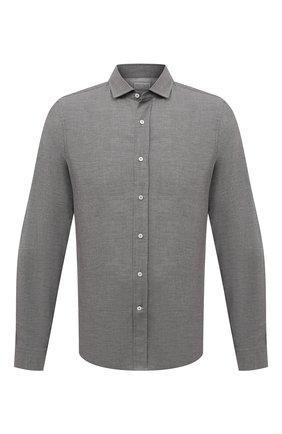 Мужская хлопковая рубашка BRUNELLO CUCINELLI серого цвета, арт. ML6913029 | Фото 1
