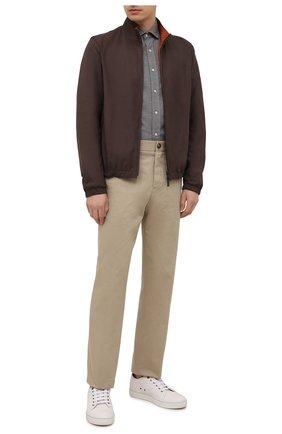 Мужская хлопковая рубашка BRUNELLO CUCINELLI серого цвета, арт. ML6913029 | Фото 2