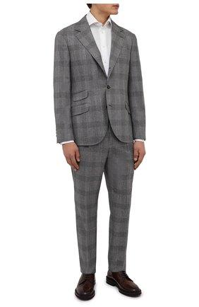 Мужской шерстяной костюм BRUNELLO CUCINELLI светло-серого цвета, арт. MN416LDWH | Фото 1