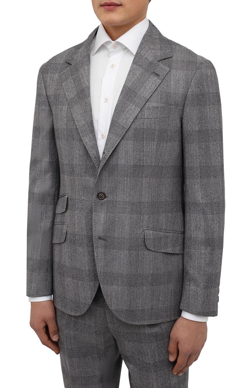Мужской шерстяной костюм BRUNELLO CUCINELLI светло-серого цвета, арт. MN416LDWH   Фото 2
