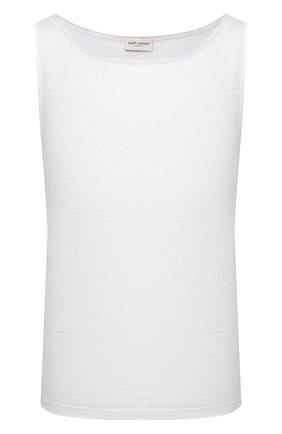 Мужская льняная майка SAINT LAURENT белого цвета, арт. 643078/YBYT2 | Фото 1 (Длина (для топов): Стандартные; Материал внешний: Лен; Принт: Без принта; Стили: Кэжуэл)
