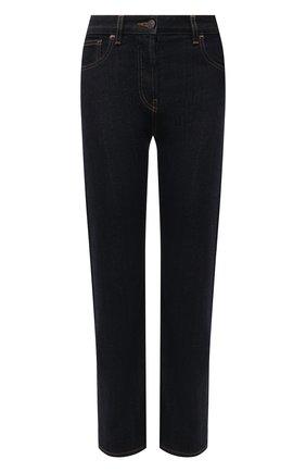 Женские джинсы с потертостями THE ROW темно-синего цвета, арт. W263F375 | Фото 1 (Материал внешний: Хлопок; Силуэт Ж (брюки и джинсы): Прямые; Стили: Кэжуэл; Длина (брюки, джинсы): Стандартные)