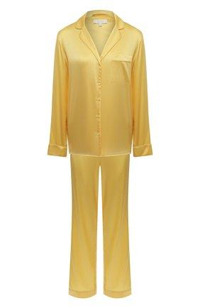 Женская шелковая пижама YOLKE желтого цвета, арт. C0RE-02S-SU-YE   Фото 1