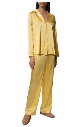 Женская шелковая пижама YOLKE желтого цвета, арт. C0RE-02S-SU-YE   Фото 2