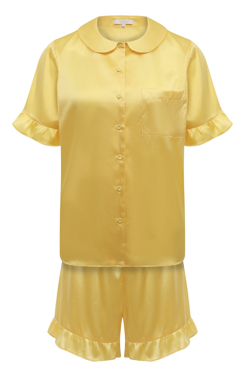 Женская шелковая пижама YOLKE желтого цвета, арт. C0RE-40S-SU-YE | Фото 1 (Материал внешний: Шелк; Длина Ж (юбки, платья, шорты): Мини; Рукава: Короткие; Длина (для топов): Стандартные)