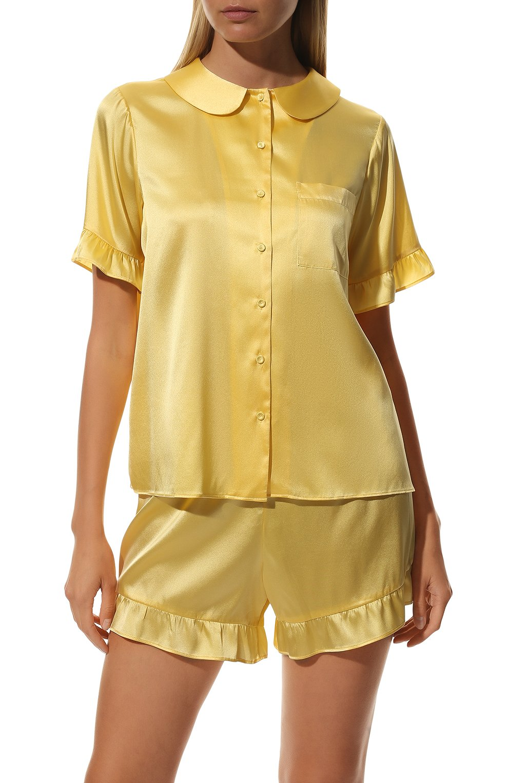 Женская шелковая пижама YOLKE желтого цвета, арт. C0RE-40S-SU-YE | Фото 3 (Материал внешний: Шелк; Длина Ж (юбки, платья, шорты): Мини; Рукава: Короткие; Длина (для топов): Стандартные)