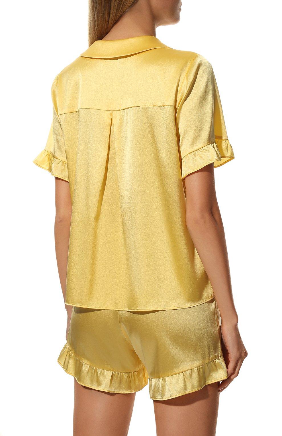 Женская шелковая пижама YOLKE желтого цвета, арт. C0RE-40S-SU-YE | Фото 4 (Материал внешний: Шелк; Длина Ж (юбки, платья, шорты): Мини; Рукава: Короткие; Длина (для топов): Стандартные)