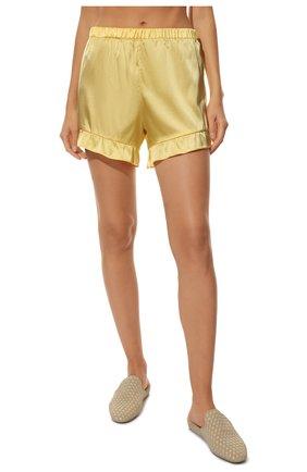 Женская шелковая пижама YOLKE желтого цвета, арт. C0RE-40S-SU-YE | Фото 5 (Материал внешний: Шелк; Длина Ж (юбки, платья, шорты): Мини; Рукава: Короткие; Длина (для топов): Стандартные)